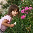 Child, flowers and ice cream
