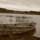 The old boat is on the lake shore.