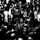 the crowd at Beijing subway