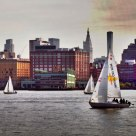 Sailboats along Hudson River