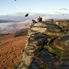 Paragliders over Stanage Edge