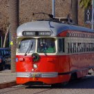 A Red Tram on Embarcadero