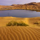 Beautiful Badain Jaran Desert in morning