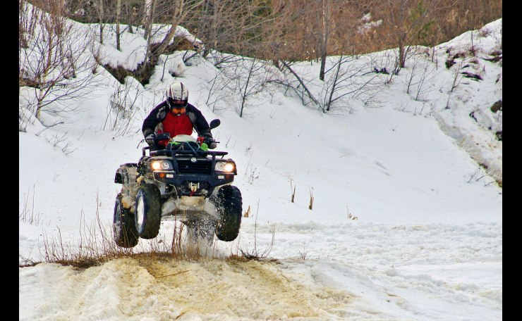 We like to ride a quad bikes in the winter