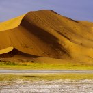 Beautiful Badain Jaran Desert in morning