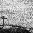 Cross rock in black and white
