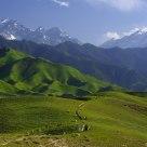 Great mountain and beautiful gralssland