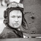 Re-enactor of World War II - member of tank crew