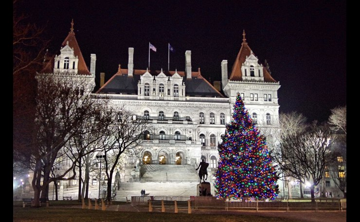 New York State Capital- front view at night.
