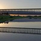 The sun setting at Griethausen railway bridge