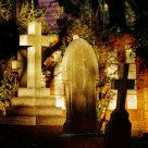 Cemetery scenes in sunlight