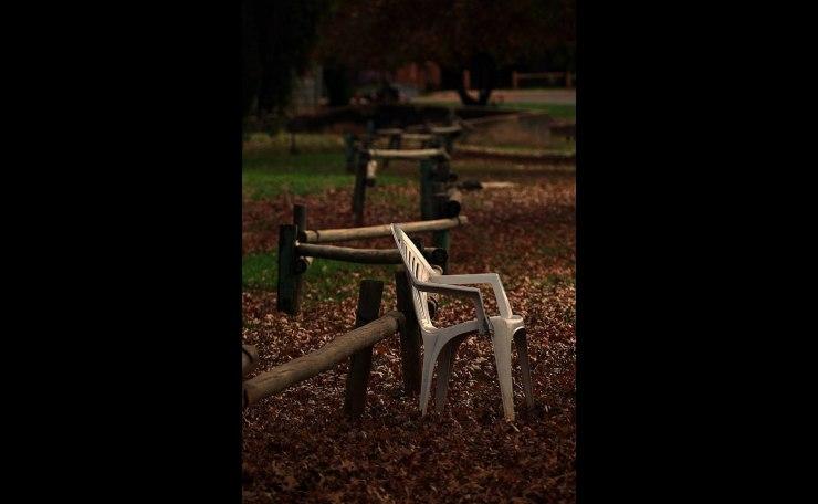 White chair in Autumn
