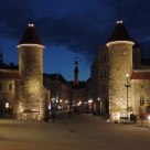 Twin towers of Viru Gate at the entrance to the old town of Tallinn, Estonia