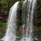 Beyond a waterfall