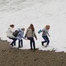 four girls familiarising with the black sea
